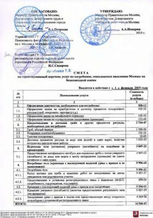 Перечень бесплатных ритуальных услуг в Москве