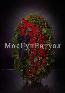 Венок ритуальный на похороны из живых цветов №3