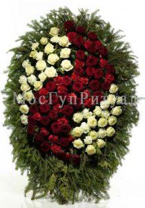 Венок ритуальный на похороны из живых цветов 160 см. №10