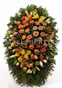 Венок ритуальный на похороны из живых цветов 160 см. №11