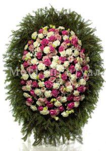 Венок ритуальный на похороны из живых цветов 120 см. №32