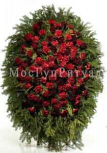 Венок ритуальный на похороны из живых цветов 160 см. №14