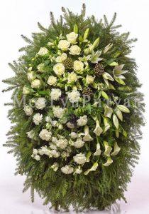 Венок ритуальный на похороны из живых цветов 160 см. №15