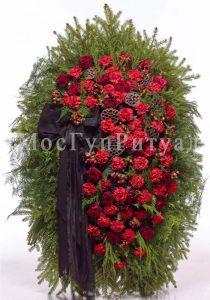 Венок ритуальный на похороны из живых цветов 120 см. №36