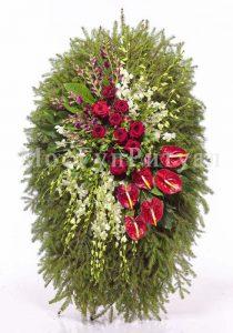 Венок ритуальный на похороны из живых цветов 120 см. №37