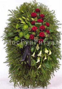 Венок ритуальный на похороны из живых цветов 120 см. №40
