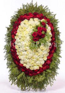 Венок ритуальный на похороны из живых цветов 120 см. №41