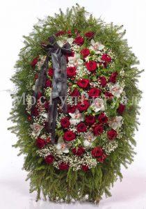 Венок ритуальный на похороны из живых цветов 120 см. №42