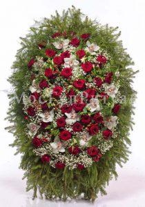 Венок ритуальный на похороны из живых цветов 160 см. №24