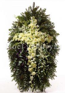 Венок ритуальный на похороны из живых цветов 120 см №25