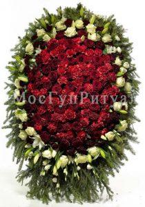 Венок ритуальный на похороны из живых цветов 120 см. №26